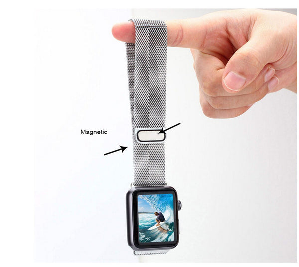 Touch Rage Milanese Loop, Magnetic Closure Clasp, for Series 1 and Series 2 Apple Watch,  Silver