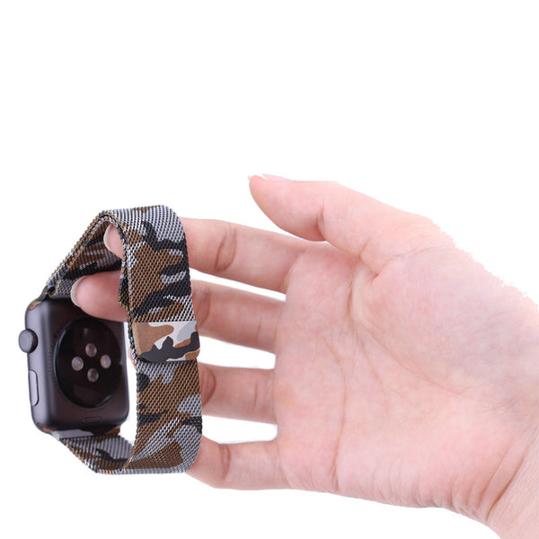 Touch Rage Milanese Loop, Magnetic Closure Clasp, for Series 1 and Series 2 Apple Watch, Camo