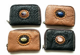 Handmade genuine pebble grain leather zipper wallet with precious stone accent