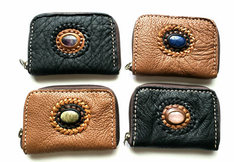 Handmade genuine pebble grain leather zipper wallet with stone accent