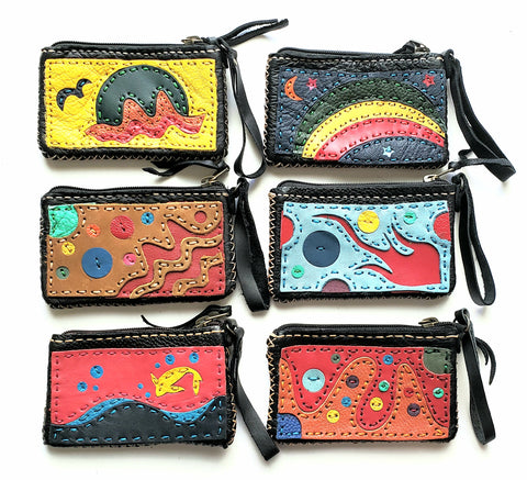 Handmade genuine leather collage art mini purse wallet/coinpurse