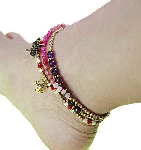 Handmade gemstone thin anklets with charms