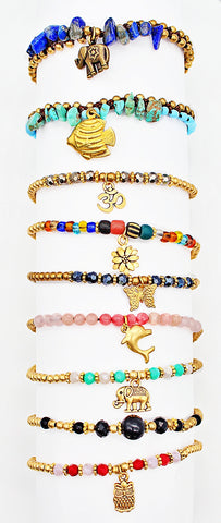 Handmade gemstone thin bracelets with charms
