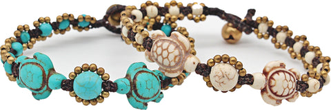 Handmade macramé bracelet with carved stone turtles