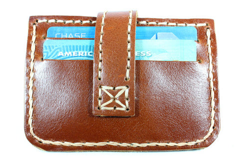 Handmade cowhide thin leather cardholder with button closure - Atlas Goods