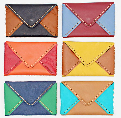 Handmade leather envelope cardholders (colorful tone)