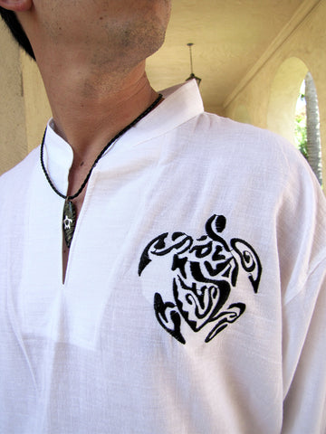 Men's shirt white chinese collar with celtic turtle embroidery / Beach wedding/ Yoga/ Renaissance Medieval