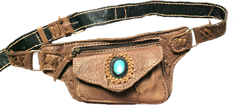 Handmade leather bohemian fanny bag with flap and hand selected semi- precious stone accent