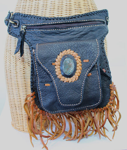 Handmade genuine leather bohemian fanny bag / messenger convertible bag with hand selected semi- precious stone accent - Atlas Goods