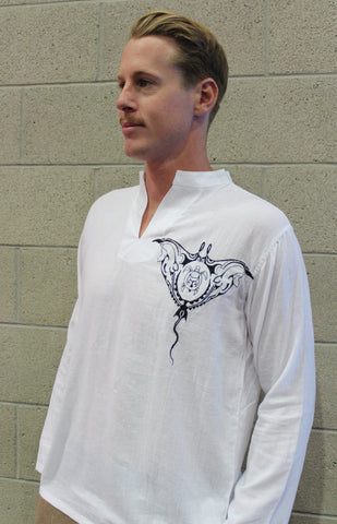 Men's shirt white chinese collar long sleeve with manta embroidery / Beach wedding/ Yoga/ Renaissance Medieval