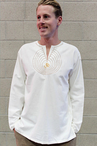Men's shirt white chinese collar long sleeve with om embroidery / Beach wedding/ Yoga/ Renaissance Medieval