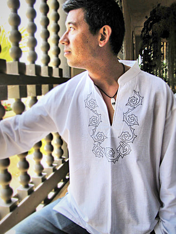 Men's shirt white mandarin collar long sleeve with celtic art embroidery/ Beach wedding/ Yoga/ Renaissance Medieval - Atlas Goods