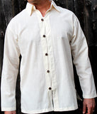 Men's shirt white button down long sleeve with coconut button / Beach wedding/ Yoga/ Renaissance Medieval