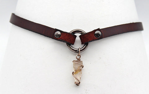 Handmade leather choker necklace with pendant