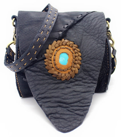 Handmade genuine leather bohemian saddle bag with stone accent