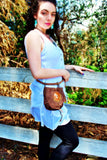 Handmade leather possible bag bohemian/ hippy style with blue stone accent