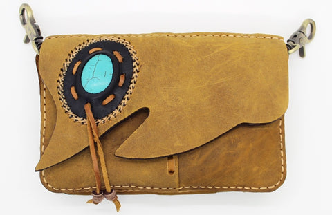 Handmade crossbody/ clutch bag with stone