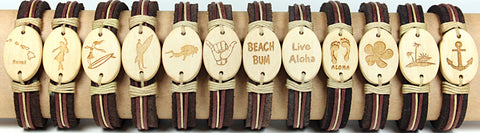 Handmade leather bracelet with laser engraved natural color coconut bead- Aloha Set - Atlas Goods