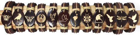 Handmade Leather bracelet with laser engraved wood bead-Flying friends set - Atlas Goods
