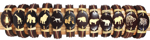 Handmade Leather bracelet with laser engraved wood bead-Zoo animals set - Atlas Goods
