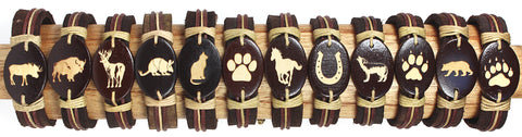 Handmade Leather bracelet with laser engraved wood bead-Land animals set - Atlas Goods