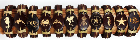 Handmade Leather bracelet with laser engraved wood bead-Aquatic/ Sea life set - Atlas Goods