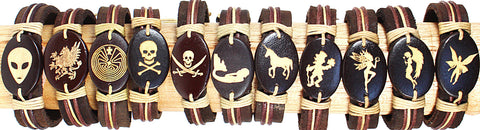 Handmade Leather bracelet with laser engraved wood bead- Pirates and Fairies set - Atlas Goods