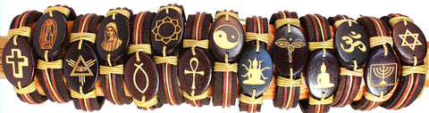 Handmade Leather bracelet with laser engraved wood bead- Spiritual set - Atlas Goods