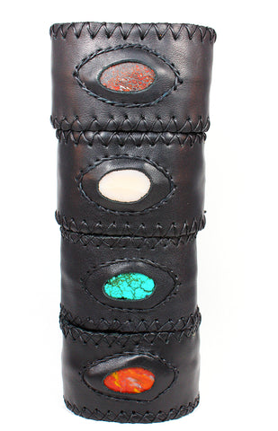 Handmade genuine leather wallet bracelets/ cuffs with gemstone