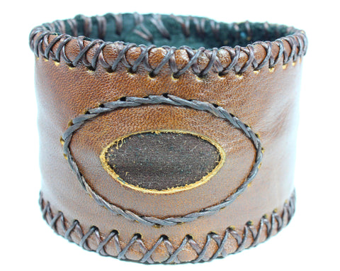 Handmade genuine leather wallet bracelets/ cuffs without gemstone