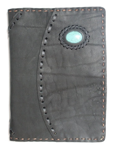 Handmade large Leather journal with stone accent/ blank paper