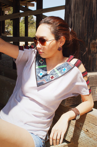 Slash sleeve V-neck blouse with Hmong hill tribe up-cycle textile accent - Atlas Goods