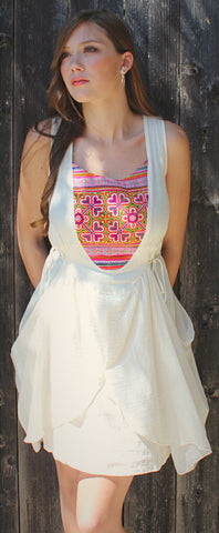 Sleeveless sundress with Hmong hill tribe up-cycle textile accent - Atlas Goods