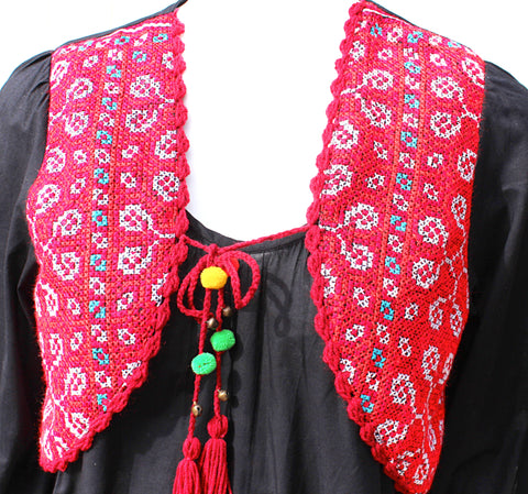 Three quarter sleeve sundress with Hmong hill tribe up-cycle textile vest - Atlas Goods