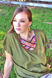 Criss Cross U-neck Blouse with Hmong hill tribe up-cycle textile accent - Atlas Goods