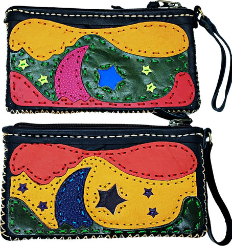 Handmade genuine leather collage art clutch/ wallet-Moon & Star design
