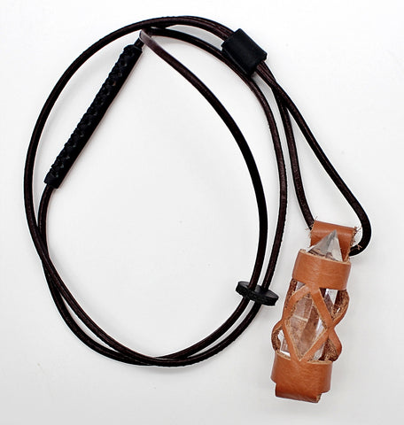 Handmade leather gemstone crystal holder/case necklace without stone