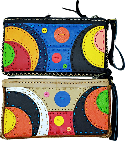 Handmade genuine leather collage art clutch- Planet design