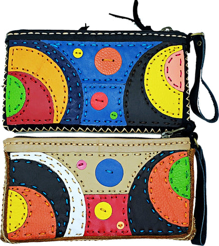 Handmade genuine leather collage art clutch/ wallet-Planets design