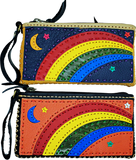 Handmade genuine leather collage art clutch/ wallet-rainbow design