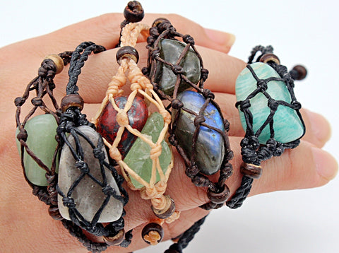 Handmade interchangeable macramé cage bracelet with tumbled stone