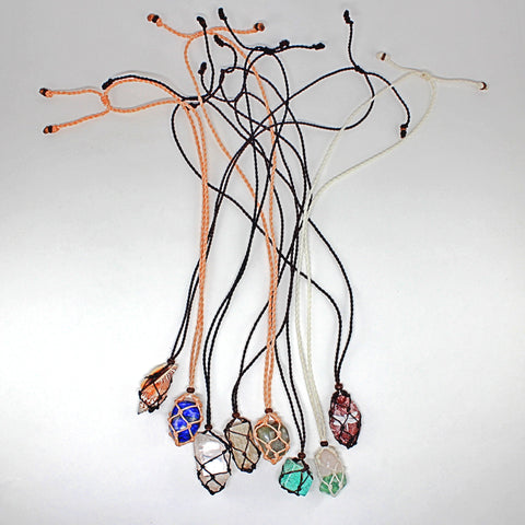 Handmade interchangeable macramé cage necklaces with tumbled stone