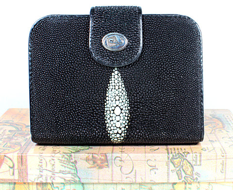 Genuine stingray leather French style wallets with magnet button closure - Atlas Goods