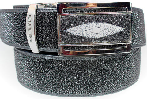 Genuine stingray leather belt with hidden zipper pocket (Money Belt) : SRB-0904 - Atlas Goods