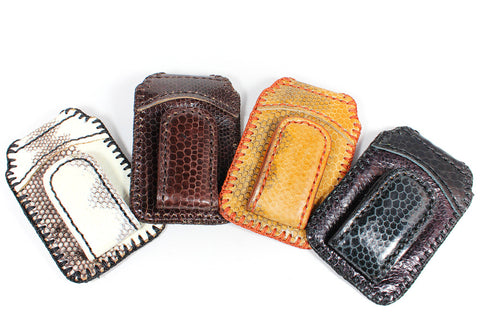 Sea snake skin leather money clip with cardholder : SSN-12 - Atlas Goods