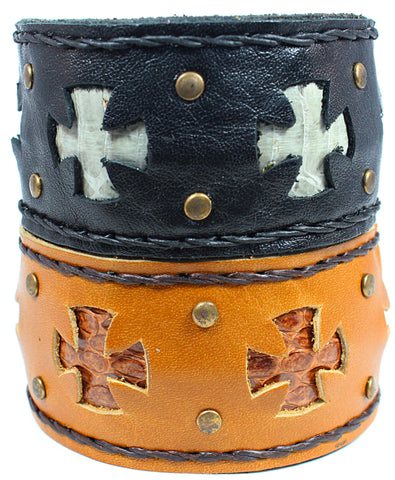Handmade genuine leather cross bracelet/ cuff with snake skin leather accent