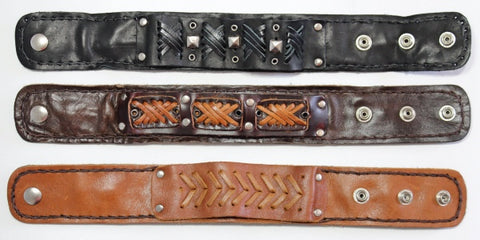 Handmade genuine leather wallet bracelets/ arm band, woven style-extra large