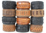 Handmade genuine leather woven bracelets/ cuffs: TB-WOVEN - Atlas Goods