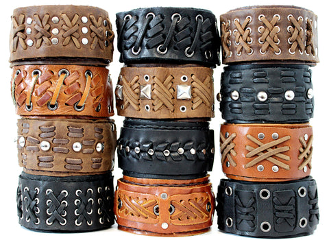 Handmade genuine leather wallet bracelets/ cuffs light metal style