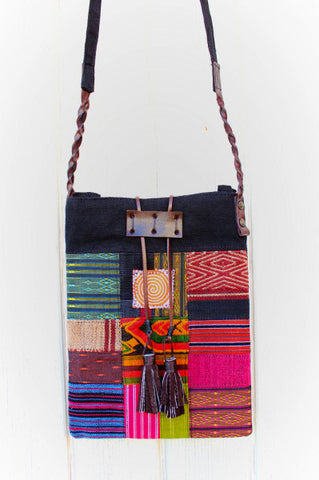 Handmade hill tribe artisan handwoven cotton patchwork cross-body bag - Atlas Goods
